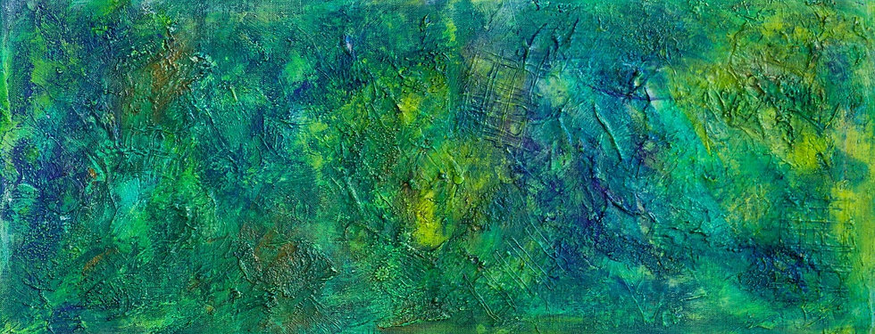 Green textured abstract mixed media artwork