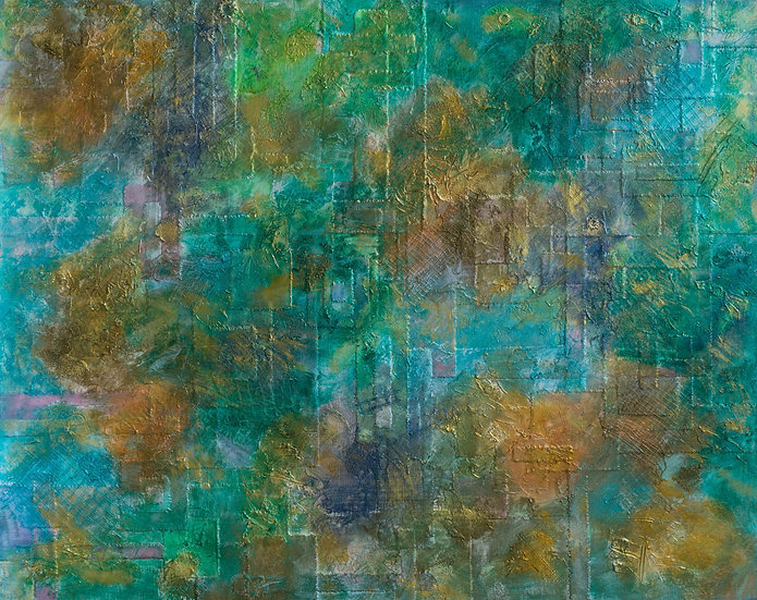 large 4' x 5' mixed media abstract art textured surface with colors of green, aqua, gold and lavender