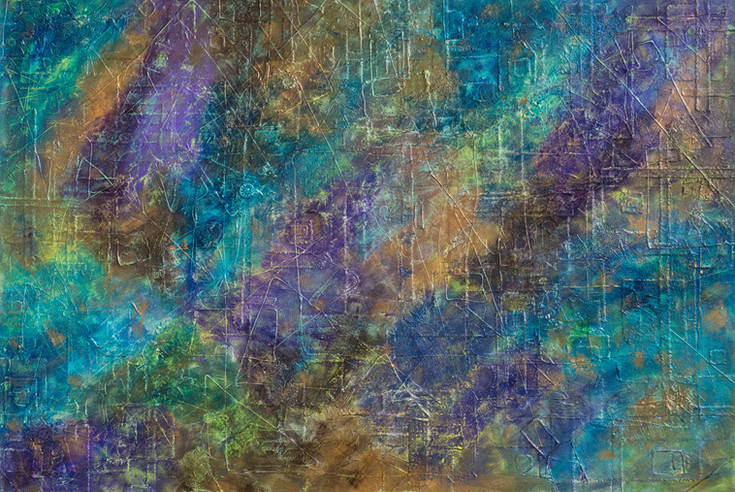 Celeste #22 | large 4' x 6' textured piece with color blends of: blue, green, gold and purple