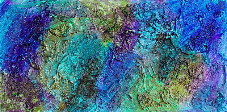 Textured abstract art mixed media blue, aqua, purple and green