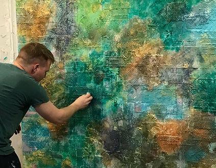 Artist at work acrylic texture green, gold, aqua