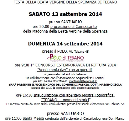 Tebano in Festa e Vendemmia Days Domenica 14 settembre 2014