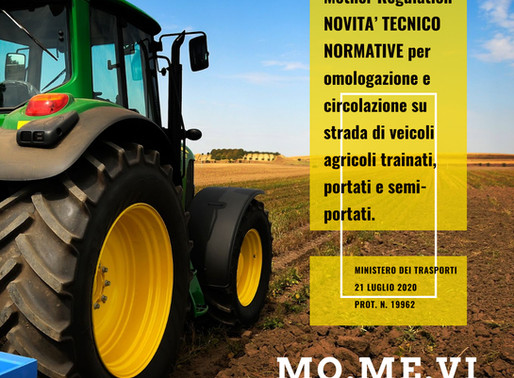 Mother Regulation.  Novità per veicoli agricoli trainati, portati e semi-portati
