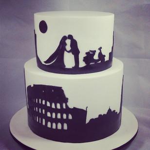 Custom Italian silhouette wedding cake.jpg For a couple who got married under the Tuscan sun.jpg