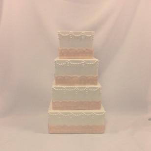 Pretty #vintageweddingcake #antiquelace #cakeladycakes  #squarecake #weddingcake