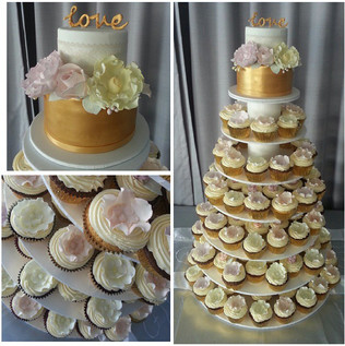 Pretty cupcake tower in gold, peach, lilac, and yellow tones for Ash's wedding at _vaucluseyachtclub yesterday..jpg