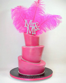 _ PINK ___How fabulous is this shiny, sparkly, feathery, hot pink wedding cake for Scott and Matt!__Kyrie _glisteningoccasions made me the s
