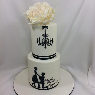 Engagement silhouette ballroom cake this time #engagementcake #cakeladycakes #sugarflower #sugarpeony #silhouette #silhouettecake