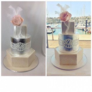 This is my new favourite cake I think! Champagne glitter, silver leaf and shimmer! Congratulations Myf and Chad #happileehitched #artdeco #g
