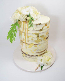 This pretty lady was 40cm tall!  Lovely fresh engagement cake with gold leaf,  gold drip and lovely fresh blooms from _hayfeverflowers #cake