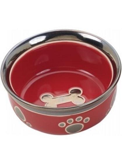 "Ritz Copper Rim 7"" Red Dog Bowl"