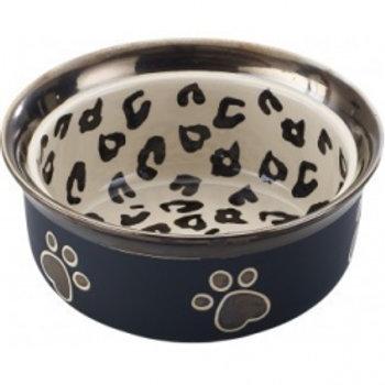 "Ritz Copper Rim 7"" Leopard Dog Bowl"
