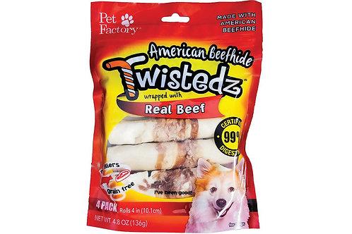 American Beefhide Twistedz Real Beef 4pk
