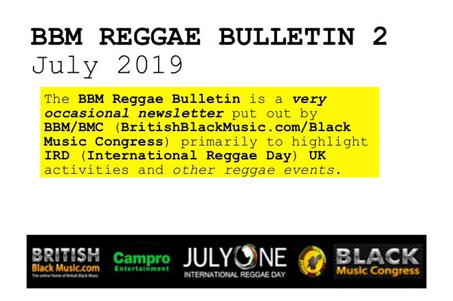 BBM REGGAE BULLETIN 2 JUNE 2019x - Front