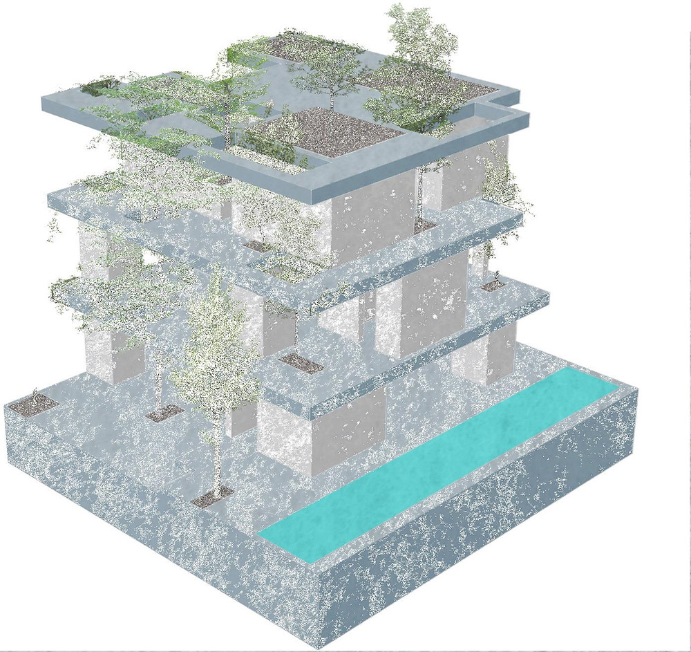 An Early Conceptual Model - Stacked Planters House | VTN Architects
