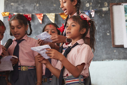 Students from the Sakala Devi Secondary School in Kadampur, Nepal