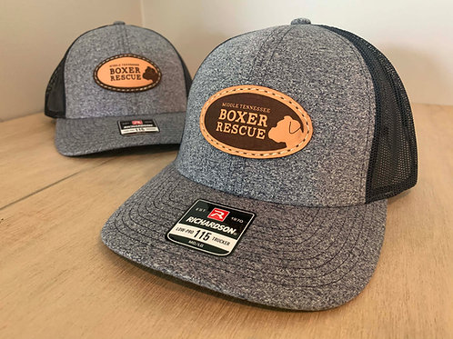 Grey / Navy heather cap with leather patch