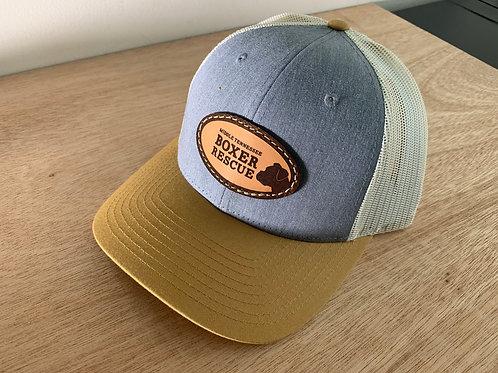 'Heather Grey, Mustard Brim, Ivory Mesh' Trucker cap, light patch