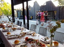 Cafe Heide White Linen Sculpture Plaza