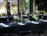 Cafe Heide Black Linen with White Flowers