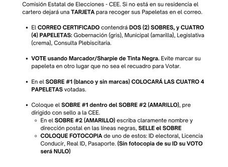 Asegure su VOTO por Correo Siguiendo estas Instrucciones.
