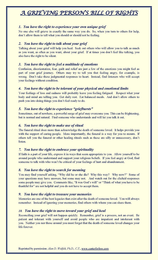 Grieving Persons Bill of Rights | Alcohol Drug Addiction and