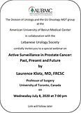 Active Surveillance in Prostate Cancer:  Past, Present and Future