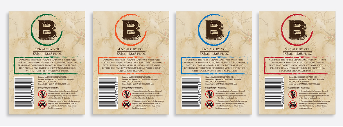 Brookes Beer label back