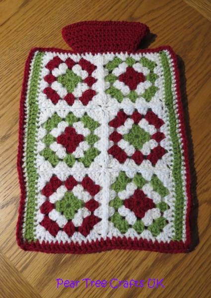 Crocheted Hot Water Bottle Cover Reversible