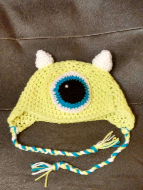 01cfab11281 Monster Hat Girls Hat Boys Hat Mike Wazowski Inspired Hat Monsters Inc  Inspired Hats Crocheted Hat