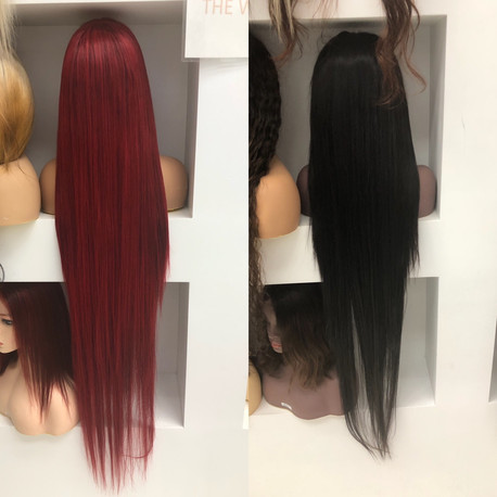 """Black and Red Full Custom Build 40""""with 13X4 Lace Frontal"""