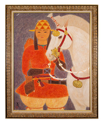 Tibetan Girl and Horse Painting - Oil On