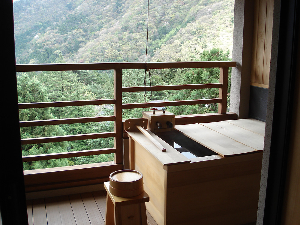 Onsen with mountain view