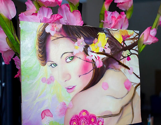 Flower portrait oil paint Johanna Dunns art