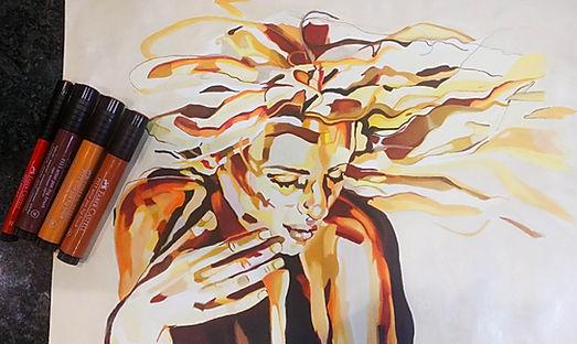 Marker and ink portraits johanna dunns art