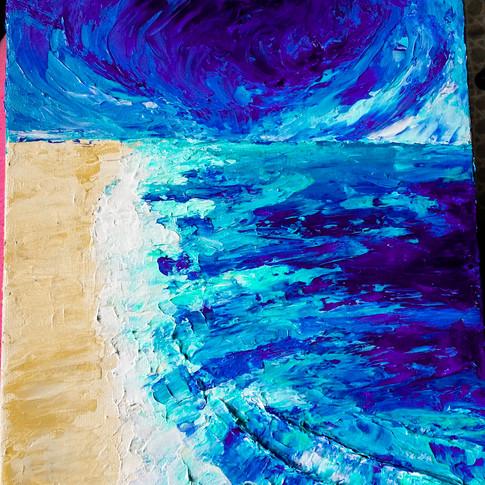 Acrylic Paint, Sand, Inks