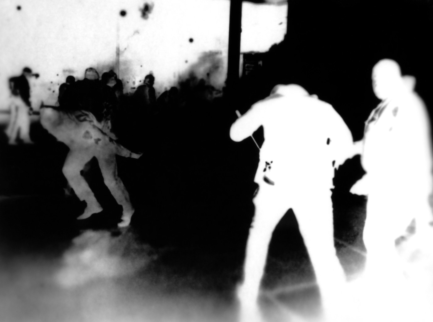"""Kristine Thompson, """"Images Seen to Images Felt"""" (detail - """"Teargas""""), 2019. Gelatin silver print photogram exposed by the light of a laptop screen, mounted to dibond. Image courtesy of artst"""