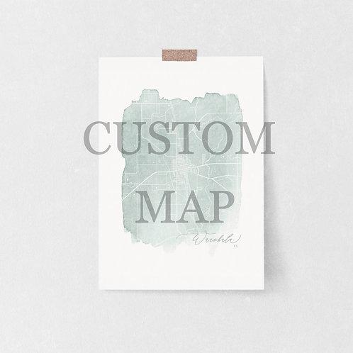 Custom Watercolor Map