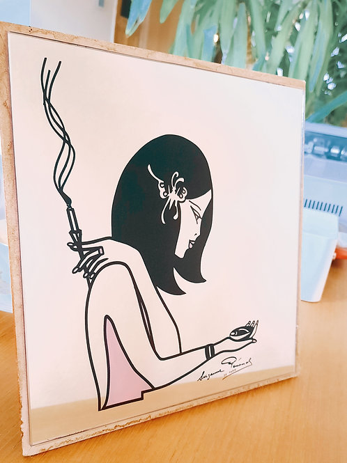 Vintage mirror pink picture woman smoking vogue boho