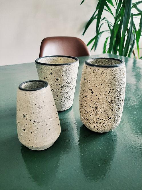 Set of 3 little lava vases