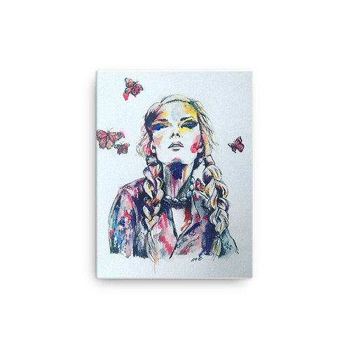 Girl with Butterflies Printed Canvas 12 x 16 inches