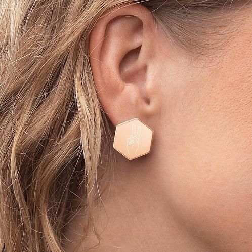 Peace Rose Gold Sterling Silver Hexagon Stud Earrings