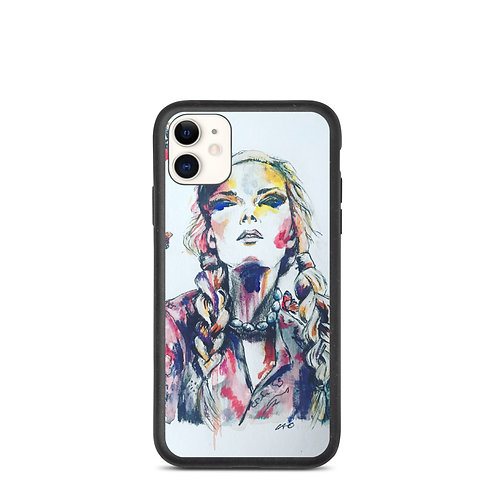 Girl with  Butterflies Biodegradable Phone Case