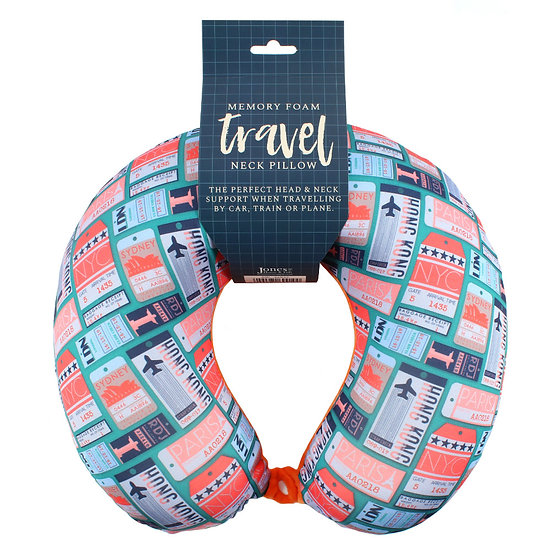Luxury Ticket Print Memory Foam Travel Pillow