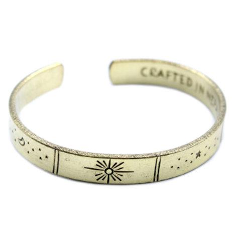 Brass Sunrise, Galaxy, Moon & Stars Bracelet