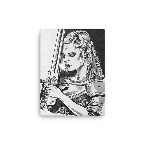 Viking Woman with Armour Printed Canvas