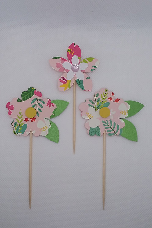 Floral Print Cupcake Toppers
