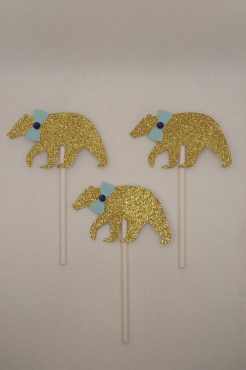 Gold Bears w/ Blue Bow Ties