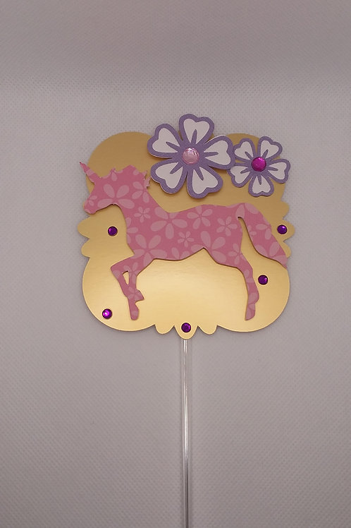 Floral Print Unicorn Cake Topper