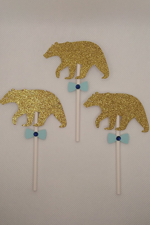 Gold Bears w/ Blue Bow Ties on Stick
